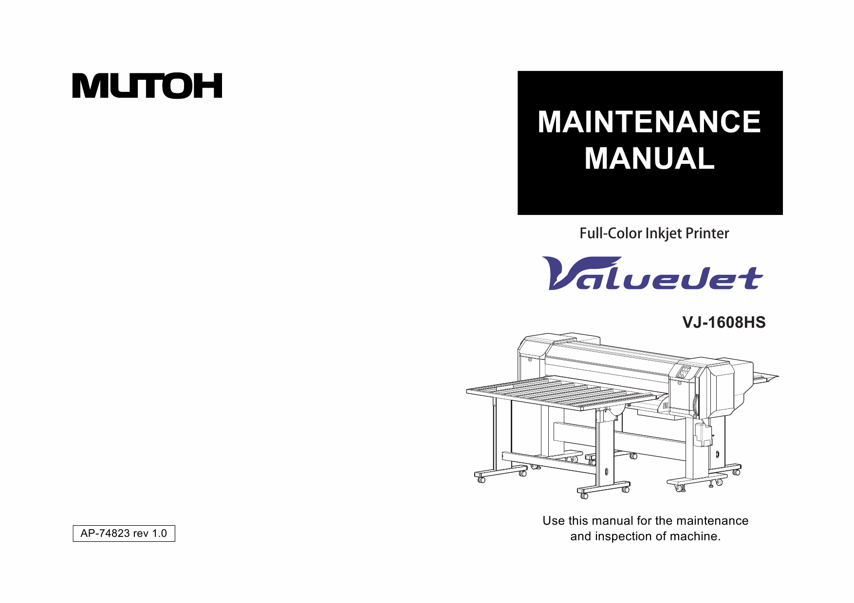 MUTOH ValueJet VJ 1608HS MAINTENANCE Service Manual-1